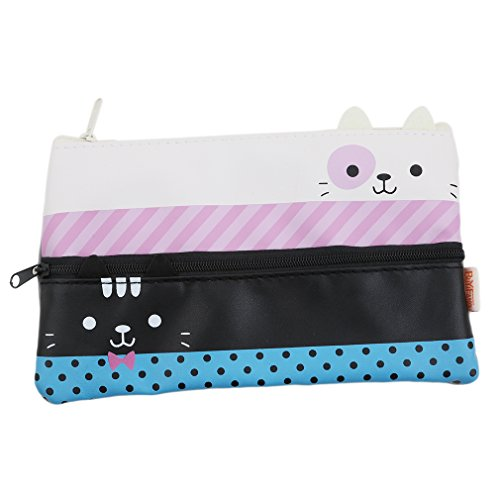 HENGSONG Women Girls Cat Shape Makeup Pouch Cosmetics Bag Key Bag Coin Purse Stationery Case Pencil Case with Zipper Gifts (Black)