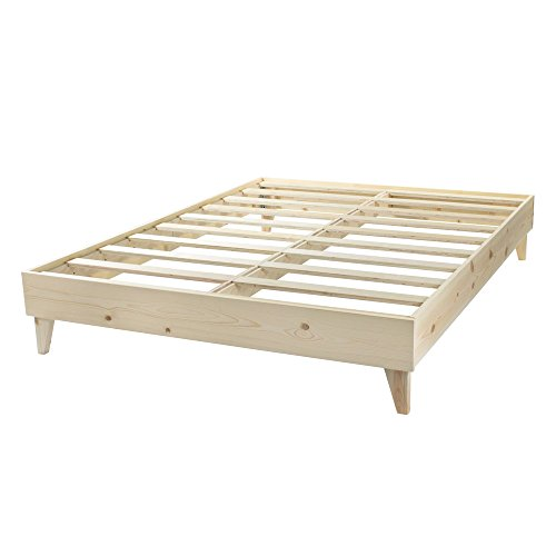 Farmhouse Bed Frame - Made in the USA w/ 100% North American Pine Wood - Solid Mattress Foundation w/Pressed Pine Slats - Tool-Free Assembly - No Finish/Unstained - Cal King California King Unfinished Bed