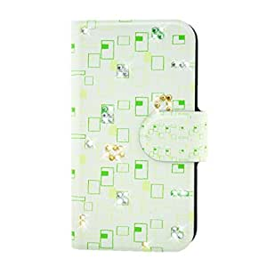 Generic Rhinestone Green Small Squares Design Card Slot Magnetic PU Leather Flip Case Cover Compatible For Lenovo K3 NOTE