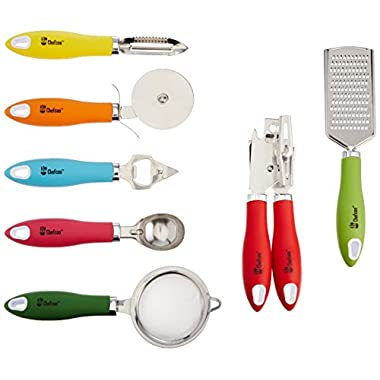 Kitchen Gadgets tools Set By Chefcoo™ - Stainless-Steel 7 Pieces kitchen Utensils Chef Cooking Set - Peeler, Ice Cream Scoop, Bottle Opener, Can Opener, Pizza Cutter, Grater, & Tea Strainer