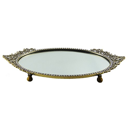 Elegant and Enchanting Antique Gold Asian/Victorian Design Oval Mirror Vanity Tray Embellished with Genuine Austrian Crystals ()