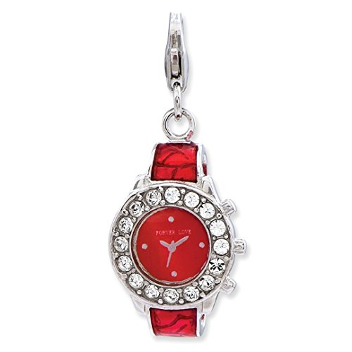 925 Sterling Silver Enameled 3 D Watch Lobster Clasp Pendant Charm Necklace Household Fine Jewelry For Women Gift Set