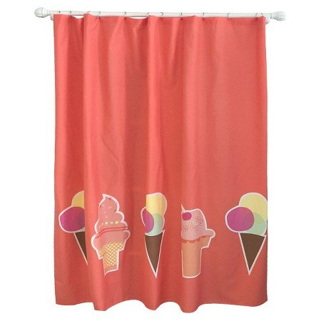 New Ice Cream Shower Curtain Brick Red (Ice Cream Shower Curtain Brick Red Pillowfort)