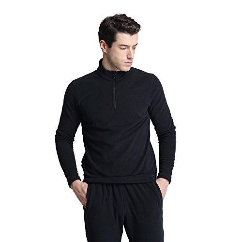 2 Zip Neck Shirt (CoolDry Men's Comfort Anti-Pilling Micro Fleece 1/4-Zip Pullover (L, Black))