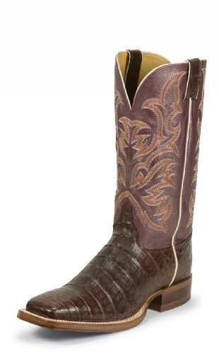 Justin Boots 9608 Men's 13-in Vintage Belly Caiman Boot Chocolate 11 EE US