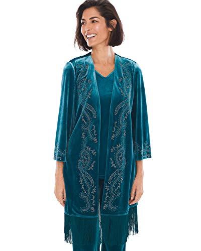 Embellished Silk Jacket - Chico's Women's Travelers Collection Embellished Velvet Jacket Size 12/14 L (2) Green