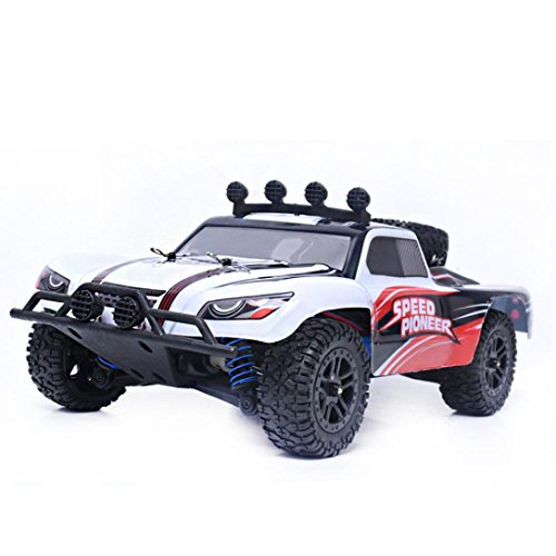 E-SCENERY 1:18 2.4GHZ 4WD Radio RC Off-road Truck Buggy SUV, High Speed Off-road Remote Control Car Short Course RTR Racing Vehicle With Built-in Rechargeable Battery (White)