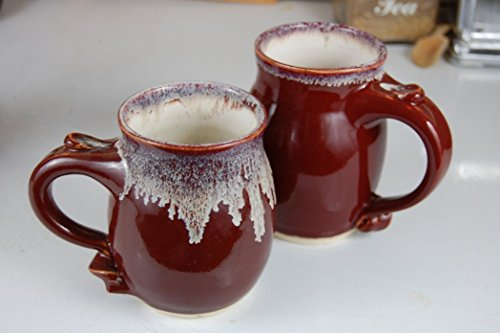Hand Thrown Stoneware Pottery Coffee Mug in Red (Red Pottery Mugs)