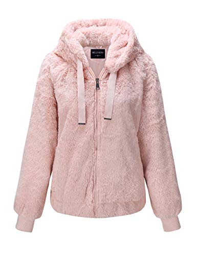 Bellivera Women's Faux Fur Jacket with 2 Side-Seam Pockets, The Jacket with Hood, for Autumn and Winter