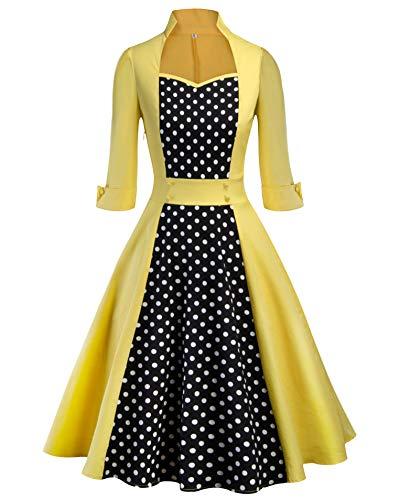 Tecrio Women Classy Vintage 1950's Rockabilly Trench Coat Style A-Line Dress XXL Yellow