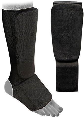 Elasticizzato bianco stinco e collo del piede cuscinetti per Karate Muay Thai MMA UFC Taekwondo Adulti bambini kick boxing Stinco e collo del piede cuscinetti