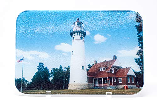 Seul Choix Michigan Lighthouse Cutting Board, Glass, Hand Imprinted Photo 2