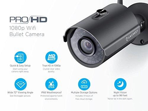 Amcrest ProHD Outdoor 1080P WiFi Wireless IP Security Bullet Camera - IP66 Weatherproof, 1080P (1920TVL), IP2M-842 (Black) (Renewed)