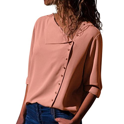 iDWZA Womens Ladies Fashion Solid Lapel Neck T Shirt Long Sleeve Buckle Blouse Tops (Pink, L)