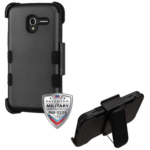 Alcatel Stellar/Tru Case, Mybat Tuff Dual Layer [Shock Absorbing] Protection Hybrid Rubberized Hard PC/Silicone Holster Case Cover For Alcatel Stellar/Tru, Black