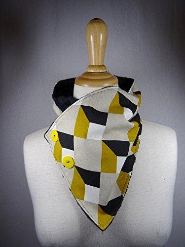 col écharpe doudou à motif géométrique jaune