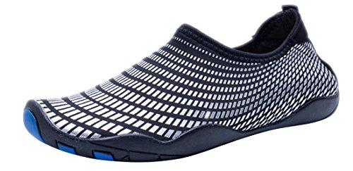 Sanyge Mens Womens Wasser Schuhe Beach Swim Schuhe Quick-Dry Aqua Socken Pool Schuhe für Surf Yoga Übung Schwarzes Silber