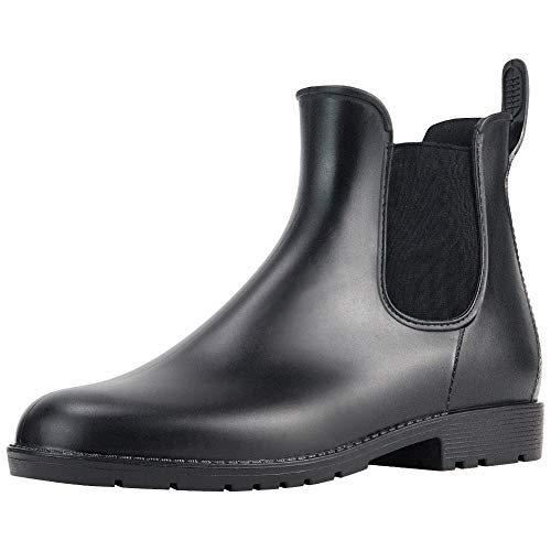 - MuMuJia Women's Short Rain Boots Fashion Elastic Chelsea Ankle Booties Anti Slip Ladies' Waterproof Rain Shoes Black