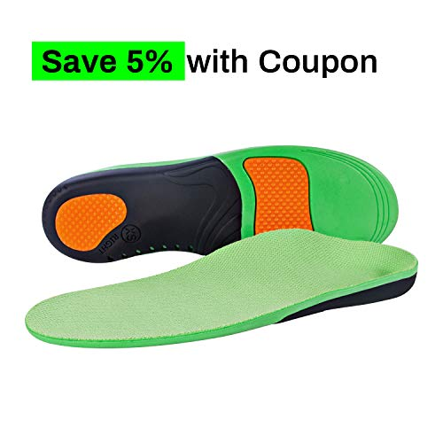 Arch Support Insole Orthotic Inserts for Plantar Fasciitis Full Length Insoles Running Flat Feet Heel Spurs & Foot Pain for Men & Women ((1 Pair) S Size Women 7-9 / Men 6-8) (Best Running Insoles For Flat Feet)