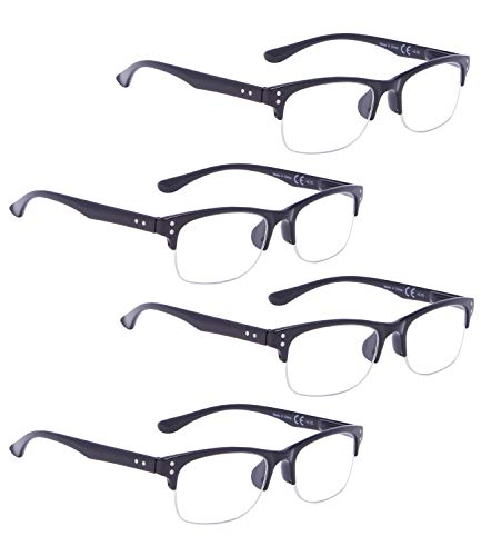 (READING GLASSES 4 pack Plastic Half-rim Readers (Black, 3.00) )