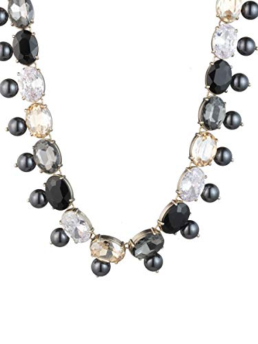 Carolee Women's Stone and Pearl Collar Necklace, Gold/Black, 18