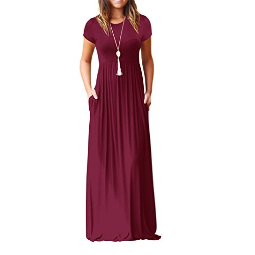 Joint 2018 Summer Women Fashion Short Sleeve Loose Plain Long Maxi Casual Evening Party Dress With Pockets (XX-Large, Wine Red) (Neck Long Porcelain)