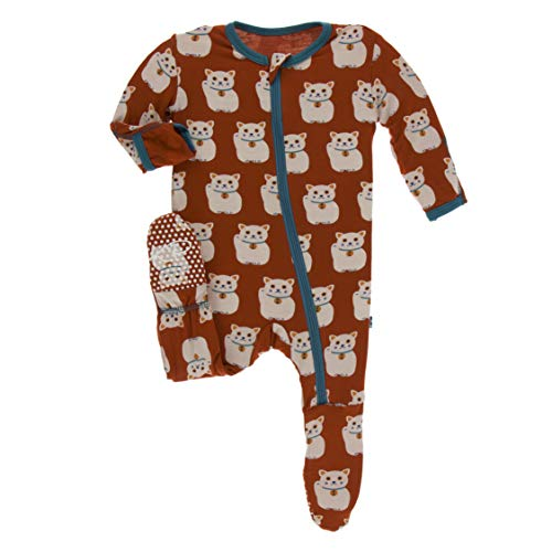 Kickee Pants Little Boys Print Footie Zipper - Lucky Cat, 0-3 Months
