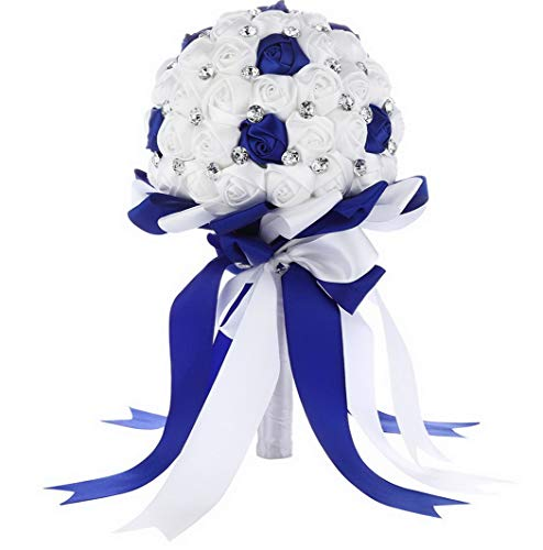 Kaputar Crystal Satin Rose Bridal Bridesmaid Bouquets Flower Decor Royal Blue 2 | Model WDDNG - Bouquet Crystal Silver