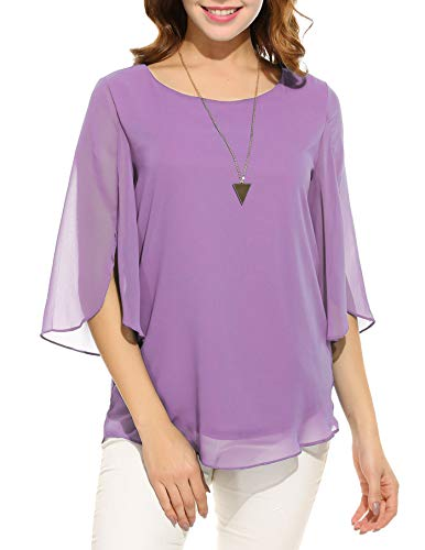 Oyamiki Womens Half Sleeve Layered Flowy Chiffon Blouses Round Neck Top Shirts Purple