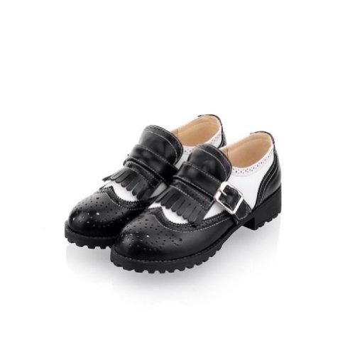 Charm Fot Mode Kvinna Låg Häl Tillfälligt Skor Oxfords Skor Svarta