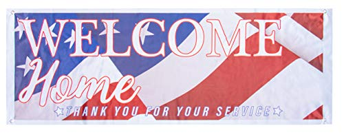 Juvale Welcome Home Deployment Banner - 2-Pack American Flag Decorations for Military, Army, Soldier, Marine, Navy, and USMC, 62.2 x 22 Inches -