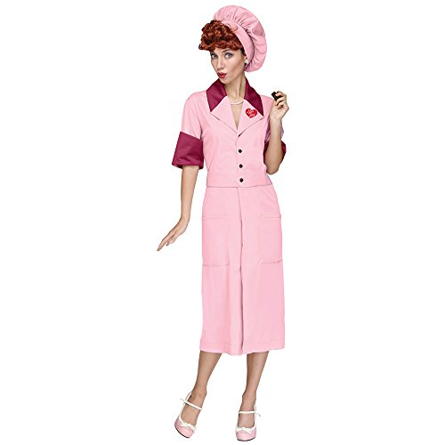 Halloween Costume Factory (Fun World Women's Licensed I Love Lucy Candy Factory Dress, Multi, M/L Size)