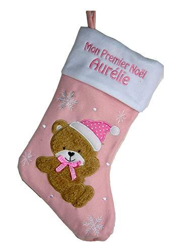 Chaussette de Noël Mon Premier Noël personnalisé avec broderie en rose pour les filles