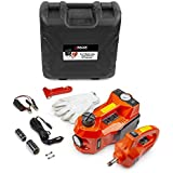 Wagan 12V DC Powered 3 Ton Car Lift 3-in-1 Electric Car Jack, Impact Wrench & Air Compressor Kit with LED Work Light for Road Emergency Car Repair Tool Kit 3T