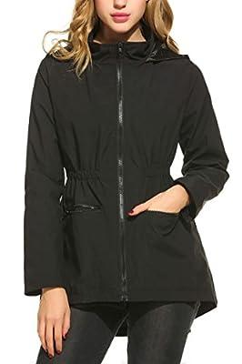 Bifast Womens Lightweight Lining Hooded Waterproof Outdoor Zipper Rain Jacket