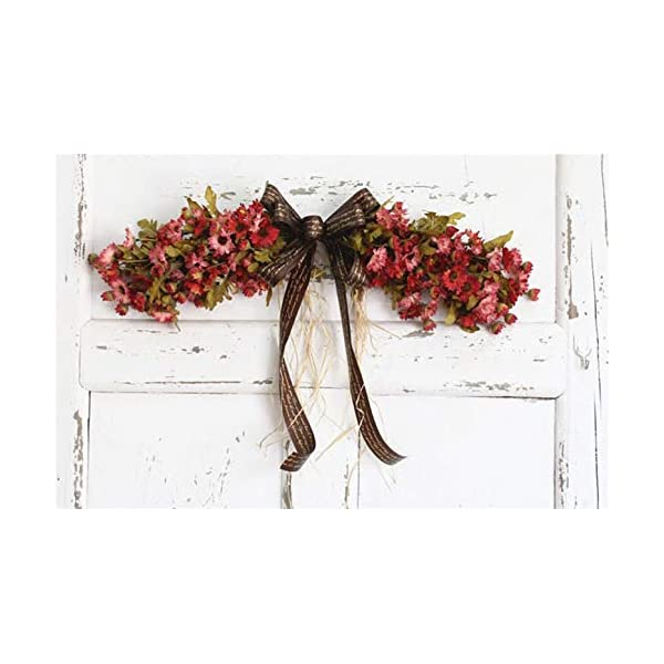 Liveinu Artificial Daisy Floral Swag for Front Door Flowers Arrangements Wedding Table Centerpieces Door Swag for Decor 21.8 x 4.9 Inch Red Swag Wreath