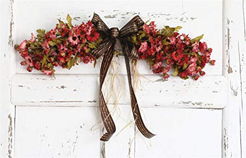 Christmas Door Swag - Liveinu Artificial Daisy Floral Swag for Front Door Flowers Arrangements Wedding Table Centerpieces Door Swag for Decor 21.8 x 4.9 Inch Red Swag Wreath