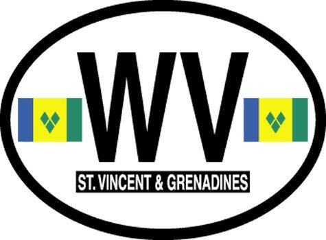 Flag It St Vincent & Grenadines Oval Decal for auto, Truck or Boat