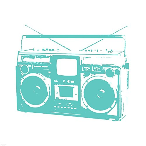 Aqua Boom Box by Veruca Salt Art Print, 18 x 18 inches ()