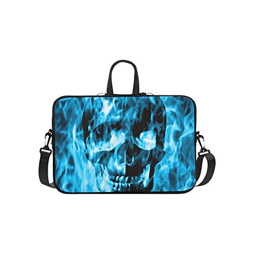 Skull Emerge from Blue Fire Or Blue Smoke Pattern Briefcase Laptop Bag Messenger Shoulder Work Bag Crossbody Handbag for Business -