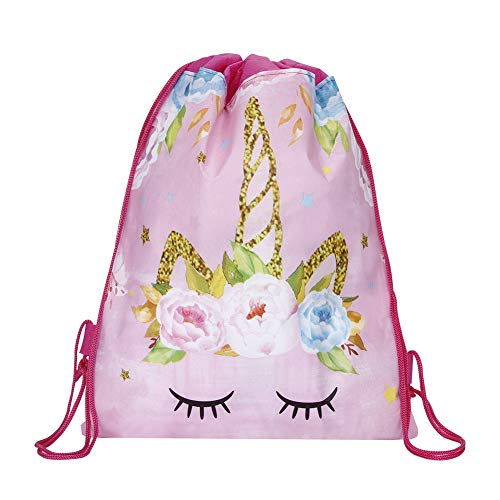 Beautyonline Unicorn Drawstring Bags for Unicorn Party Supplies, Unicorn Drawstring Shoulder Backpack Bag for Kids Children Unicorn Party Favors Birthday Gift(13.3 x 10.6 inch Style 10-Pink)