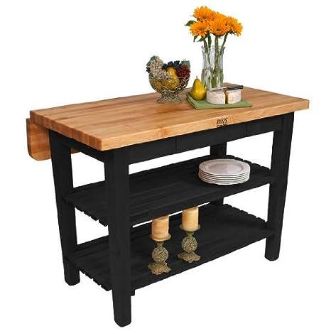 John Boos Kitchen Island Bar Work Table, 60in x 32in, Black Base