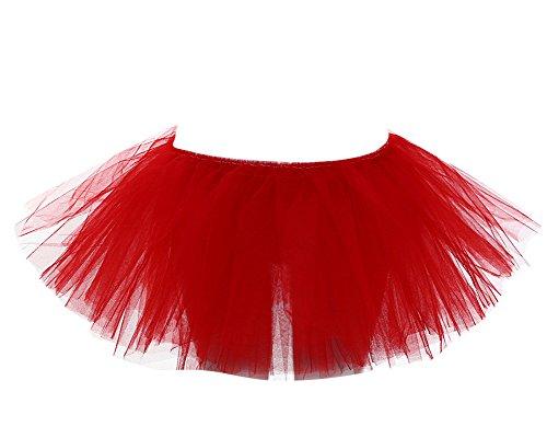 Danse Ballet Taille Rouge Jupe SaiDeng Unique Tulle Femme Bouffe Tutu Ballerine Jupe Pliss Mini FR0qA8