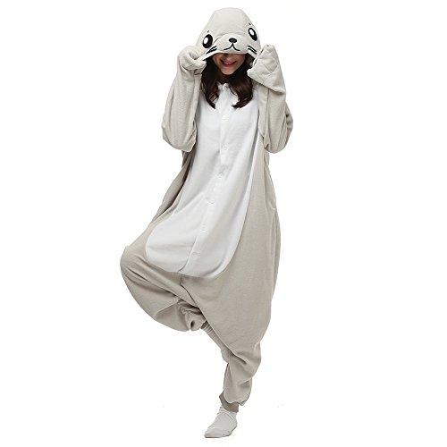 ElfZ Adult Animal Onesie Pajamas Cosplay Costume Unisex One Piece Pajamas (Small, Seal)