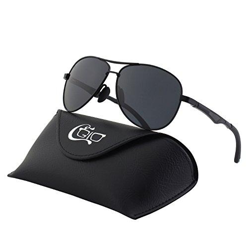 CGID GA61 Premium Al-Mg Alloy Aviator Polarized Sunglasses UV400, Full Mirrored Spring Hinges Sun Glasses for Men - Sunglasses Aviation For Best
