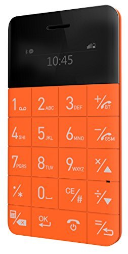 Elari Cardphone. Super-delgado Anti-teléfono de un tamaño de tarjeta de crédito (naranja)