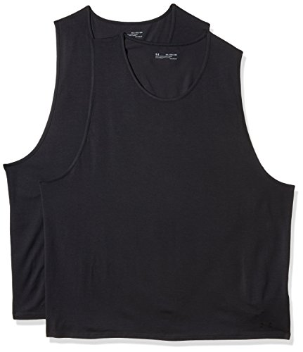 Under Armour Mens Cotton Stretch Tank Undershirt - 2 Pack,Black (001)/Black, X-Large