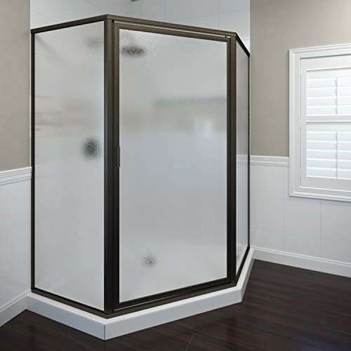 Basco Deluxe Neo Angle Shower Door, Obscure Glass, Oil Rubbed Bronze Finish 17.625 x 23.875  x 17.625 inches (Corner Entry Shower Door)