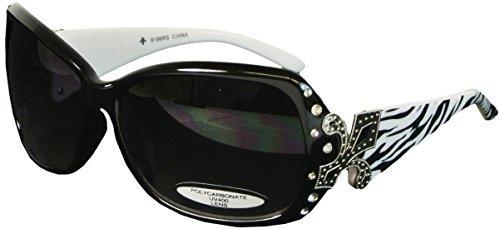 Bling Oversize Sunglasses with Fleur de Lis UV400 Polycarbonate Lens Zebra - Sunglasses Zebra