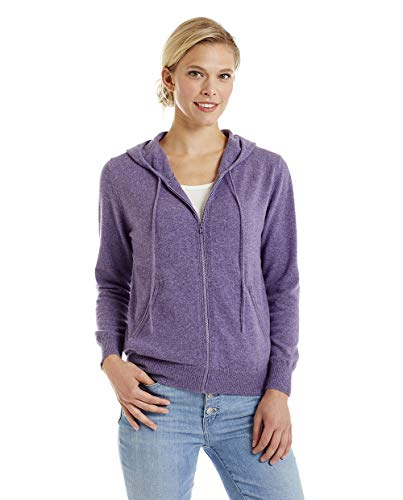 Invisible World Women's 100% Cashmere Sweater Zip Up Hooded Cardigan Lilac SM
